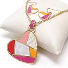 MOP AND EPOXY DECO MOSAIC HEART PENDANT NECKLACE EARRING SET