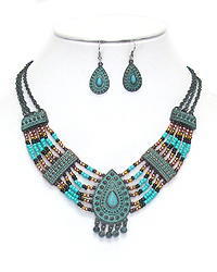 ETHNIC STYLE MULTI SEEDBEAD STATEMENT NECKLACE SET