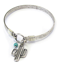 SOUTHERN COUNTRY STYLE CACTUS CHARM WIRE BANGLE BRACELET