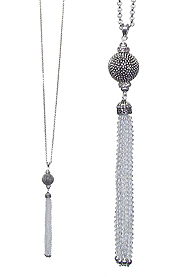 METAL BALL AND GLASS BEAD TASSEL DROP LONG NECKLACE