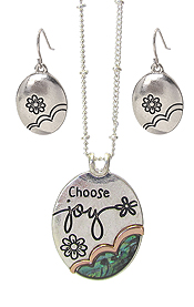 RELIGIOUS INSPIRATION ABALONE PENDANT NECKLACE SET - JOY