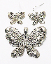 FILIGREE BUTTERFLY PENDANT SET