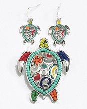 MOSAIC SEA TURTLE  PENDANT SET