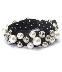 FRESHWATER PEARL FABRIC STRETCH BRACELET