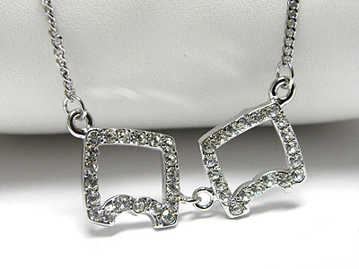 WHITEGOLD PLATING CRYSTAL DUAL SQUARE LINK NECKLACE