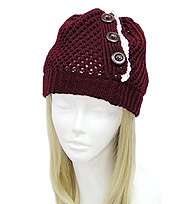 VINTAGE LACE AND BUTTON ACCENT CROCHET BEANIE