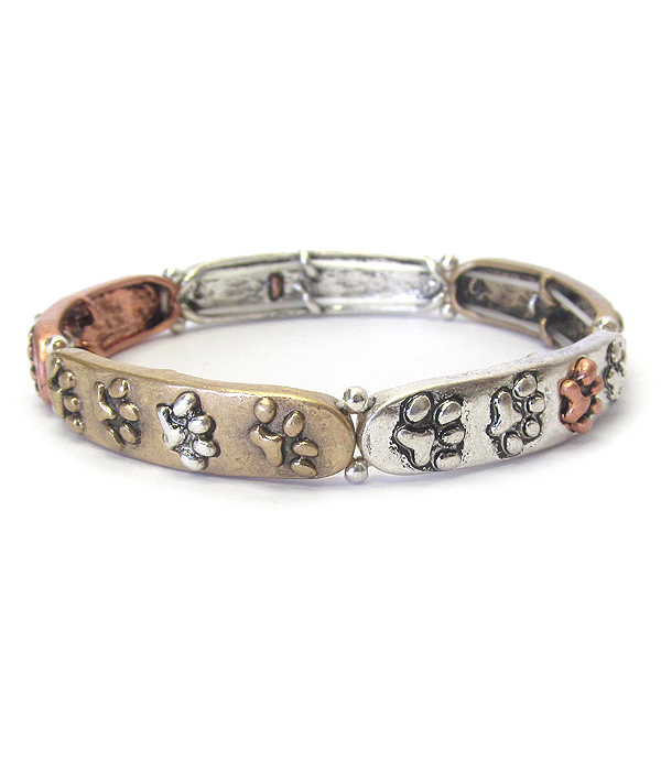 PET LOVERS INSPIRATION STRETCH BRACELET - PAW PRINT