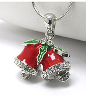 WHITEGOLD PLATING CRYSTAL AND EPOXY CHRISTMAS BELL PENDANT NECKLACE - Wholesale Jewelry