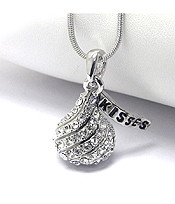 WHITEGOLD PLATING CRYSTAL STUD ICE CHOCOLATE PENDANT NECKLACE