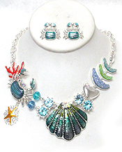 SHELL AND CRAB SEALIFE THEME  STATEMENT NECKLACE SET