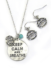 DISK PENDANT NECKLACE SET - KEEP CALM AND BREATHE