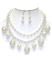 MULTI PEARL DROP DOUBLE LAYER CHAIN NECKLACE SET
