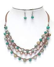 FACET STONE AND PEARL LINK 3 LAYER NECKLACE SET