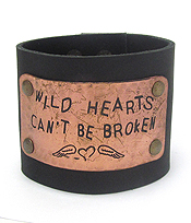 INSPIRATION MESSAGE ENGRAVED METAL THICK LEATHERETTE SNAP ON BRACELET