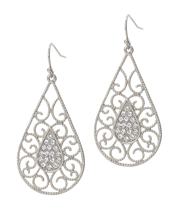 CRYSTAL CENTER METAL FILIGREE TEARDROP EARRING