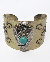 TURQUOISE ARROWHEAD AZTEC THEME WIDE BANGLE BRACELET - BRASS