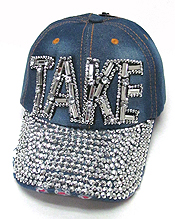 RHINESTONE WORN DENIM BASEBALL CAP-TAKE