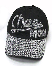 RHINESTONE WORN DENIM BASEBALL CAP-CHEE MOM