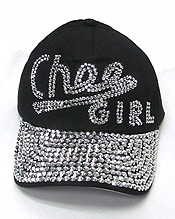 RHINESTONE WORN DENIM BASEBALL CAP-CHEE GIRL