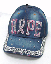 RHINESTONE WORN DENIM BASEBALL CAP-HOPE PINK RIBBON