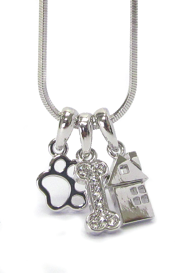 WHITEGOLD PLATING DOG LOVER BONE AND PAW PENDANT NECKLACE