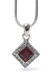 WHITEGOLD PLATING CUBIC AND CRYSTAL PENDANT NECKLACE