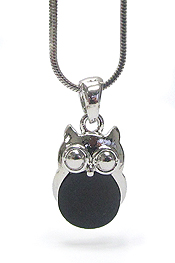 WHITEGOLD PLATING MOTHER OF PEARL OWL PENDANT NECKLACE
