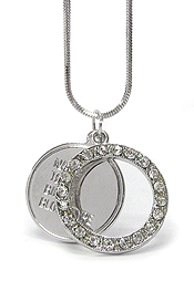 WHITEGOLD PLATING CRYSTAL ROUND SMALL DOG TAG NECKLACE