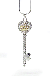 WHITEGOLD PLATING CRYSTAL STUD AND CROWN DECO KEY NECKLACE