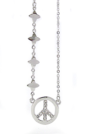 WHITEGOLD PLATING AND CRYSTAL DECO PEACE SYMBOL PENDANT NECKLACE