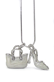 WHITEGOLD PALTING CRYSTAL AND EPOXY BAG AND SHOE DUAL PENDANT NECKLACE