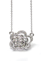 WHITEGOLD PLATING FLOATING CRYSTAL  FLOWER PENDANT NECKLACE
