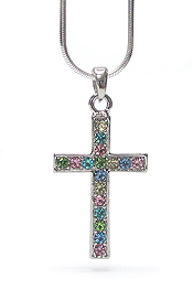 WHITEGOLD PLATING MULTI COLOR CRYSTAL SIMPLE CROSS PENDANT NECKLACE