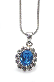 WHITEGOLD PLATING FACET CZ AND CRYSTAL PRINCESS NECKLACE