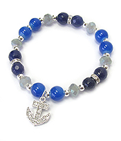 CRYSTAL ANCHOR CHARM AND GLASS BEAD STRETCH BRACELET