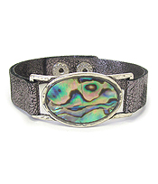 ABALONE OVAL AND LEATHER BAND BRACELET