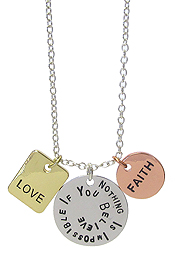 RELIGIOUS INSPIRATION MESSAGE TRIPLE PENDANT NECKLACE - NOTHING IS IMPOSSIBLE IF YOU BELIEVE