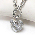 PREMIER ELECTRO PLATING CRYSTAL DECO PUFFY HEART TOGGLE CHAIN NECKLACE