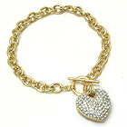 PREMIER ELECTRO PLATING CRYSTAL PUFFY HEART TOGGLE BRACELET