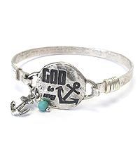 WIRE BANGLE BRACELET - GOD IS MY ANCHOR