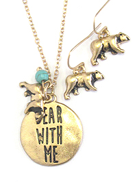 DISK PENDANT NECKLACE SET - BEAR WITH ME
