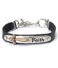 RELIGIOUS INSPIRATION THEME SUEDE TOGGLE BRACELET
