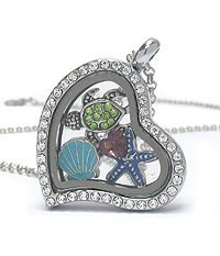 ORIGAMI STYLE FLOATING CHARM HEART LOCKET PENDANT NECKLACE - SEALIFE - LOCKET OPENS AND CHARMS INCLUDED