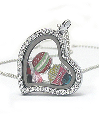ORIGAMI STYLE FLOATING CHARM HEART LOCKET PENDANT NECKLACE - HAMBURGER - LOCKET OPENS AND CHARMS INCLUDED