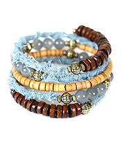 DENIM AND WOOD BEAD COIL BRACELET