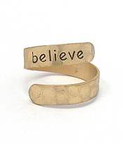 RELIGIOUS INSPIRATION BRASS SWIRL RING - BELIEVE