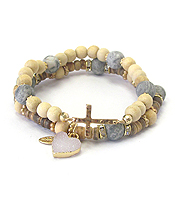 MULTI MATERIAL BEAD AND DRUZY HEART DOUBLE STRETCH BRACELET SET