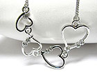 WHITE GOLD PLATING CRYSTAL STUD MULTI HEART LINK NECKLACE