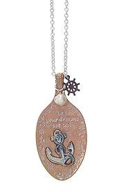SEALIFE INSPIRATION MESSAGE ON SPOON HEAD PENDANT AND LONG CHAIN NECKLACE - LET YOUR DREAMS SET SAIL