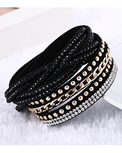 CRYSTAL AND METAL CHAIN LEATHER WRAP LONG BRACELET